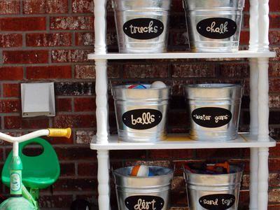organize, organize, organize!: Garage Idea, Storage Idea, Outdoor Kid, Galvanized Bucket, Toy Storage, Outdoor Toys, Storage Solution