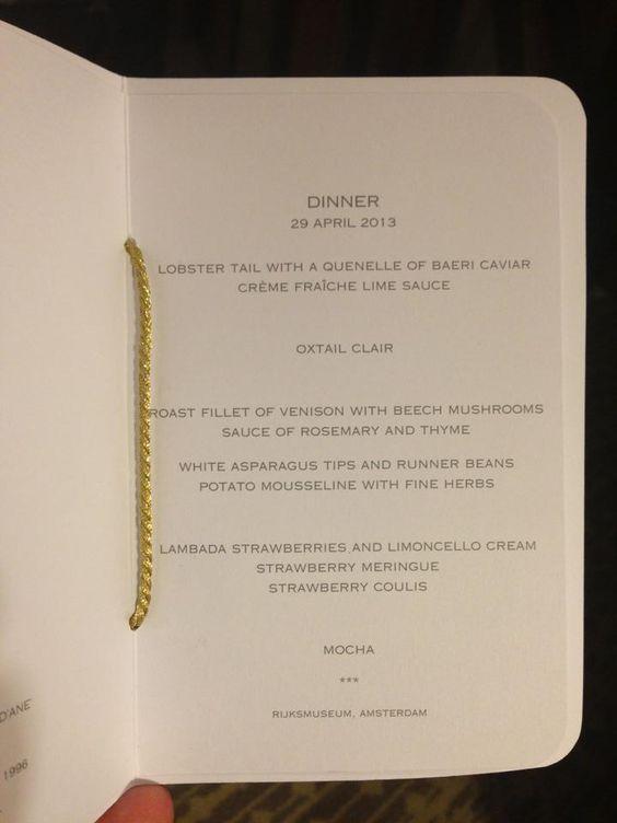 The Dinner Menu in Rijksmuseum   April 29 Abdication Queen Beatrix