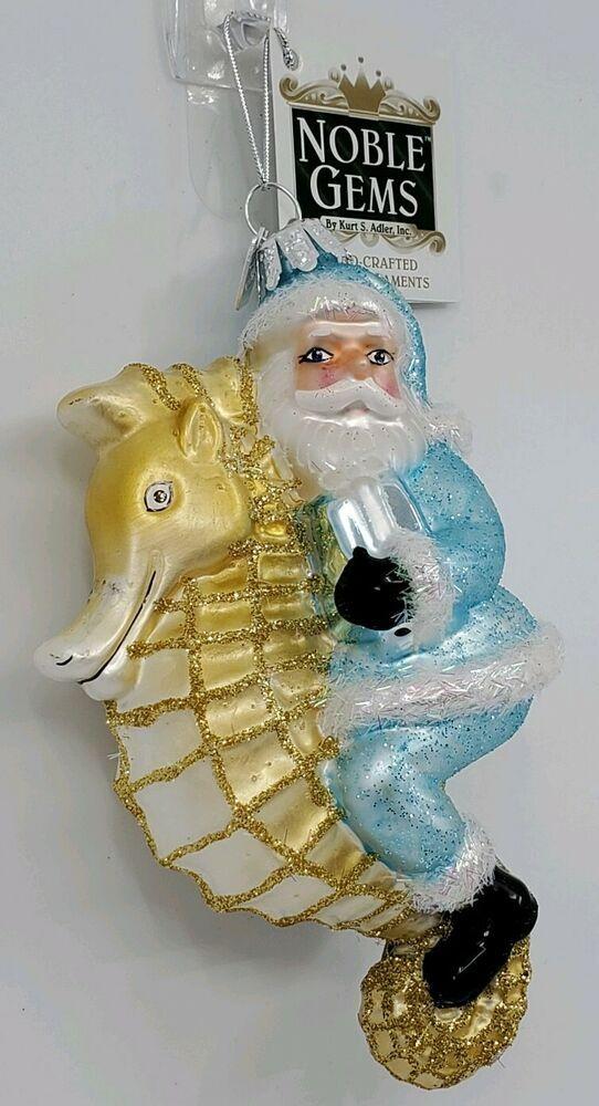 KURT ADLER NAUTICAL SILVER GOLD PEARL MERMAID BEACH SEASHELL CHRISTMAS ORNAMENT