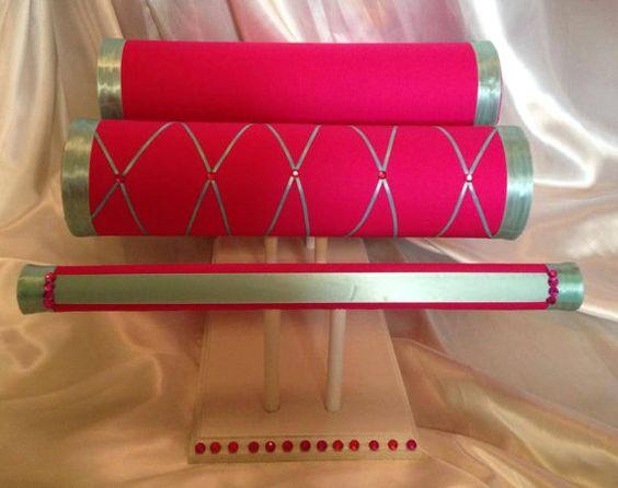 Pink and teal Headband holder/ Headband stand von ashleylaurellane