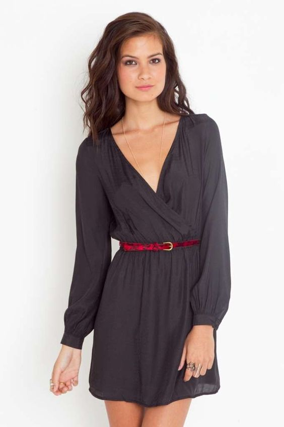 Slither Wrap Dress: Wrap Dresses, Neck Dresses, Sleeved Dress, Cute Dresses, Casual Black Dresses, Dress Red, Grey Dresses