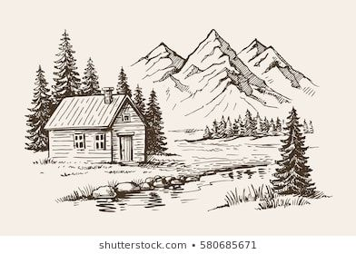 Similar Images Stock Photos Vectors Of House Mountain Snow Landscape Hand Drawn 562235197 Shutter Landscape Sketch Landscape Drawings Mountain Landscape