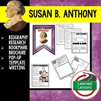 Susan B Anthony Biography Research, Bookmark Brochure, Pop-Up - po template
