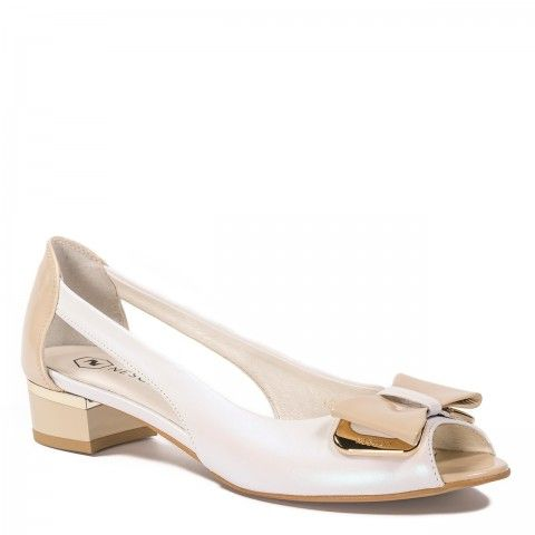 Perlowe Skorzane Baleriny Z Wycieciem Na Boku I Kokarda 75c1 Nescior Sklep Firmowy Heels Shoes Fashion
