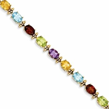 Rainbow Gemstone 14k Gold Tennis Bracelet