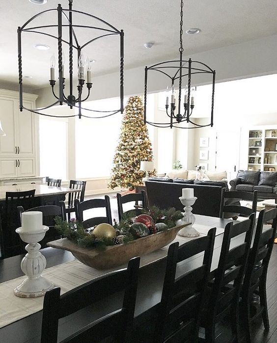 Eat-in Kitchen, Farmhouse Dining Table Overlooking