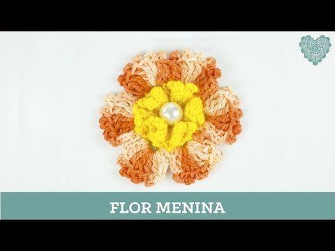Criações em crochê: Flor Menina | Luciana Ponzo - YouTube