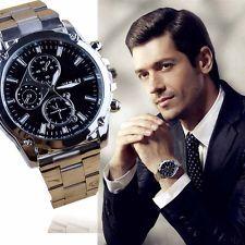 Luxury Men's Date Fashion Army Sport Stainless Steel Quartz Analog Wrist Watch: