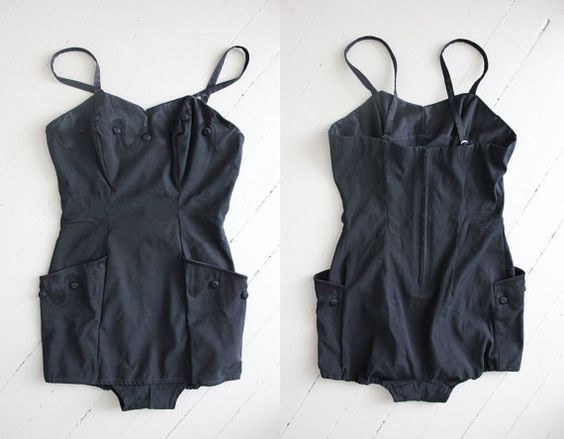 ON SALE - vintage 1950s swimsuit / 50s bathing suit / black one piece swimsuit on Etsy, $130.00