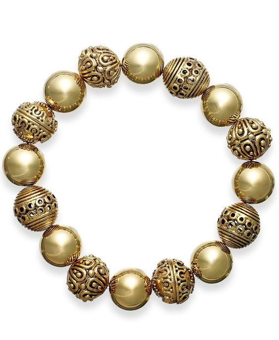 Lauren Ralph Lauren Gold-Tone Textured Bead Stretch Bracelet