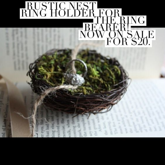 Rustic Ring Nest alternative to the traditional ring pillow. On Sales now: https://www.etsy.com/listing/228685000/nest-ring-holder-ring-nest-ring-bearer?ref=shop_home_active_2