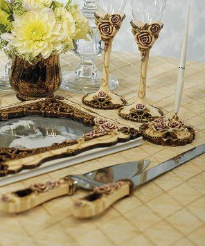 Vintage Rose Wedding Cake Serving Set