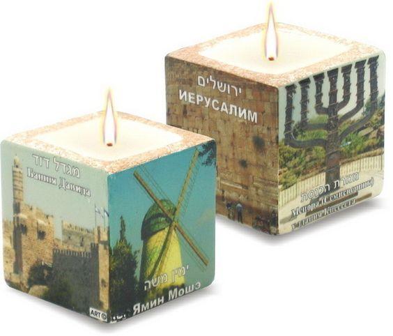 """CANDLE- CUBE ""ISRAEL SITES"" Jerusalem Hebrew/Russian ""  Shop at>>>Userpics6   Sold by  Liliyada  Lod, Israel  On Bonanaza.com"