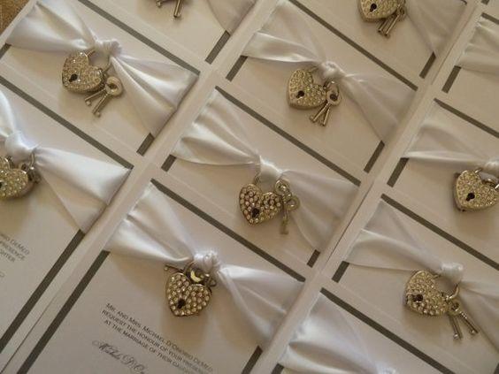 Key Themed Wedding Invitations: Key To My Heart Wedding Invitation With Heart Rhinestone