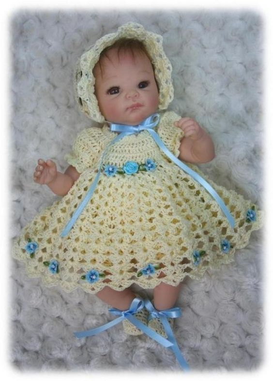 Crochet Pattern 6 - DRESS SET for 10 inch to 12 inch Baby ...