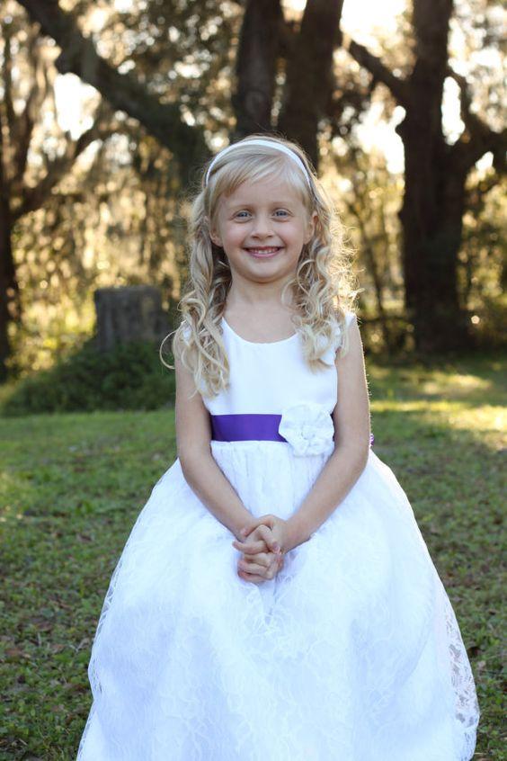 Girls White Lace Satin Flower Girl Dress Wedding and Formal Wear size 3 months, 6 months, 12 months, 18 months, 2, 3, 4, 5, 6, 8, 10, 12, 14  by ImpactInspiredShop