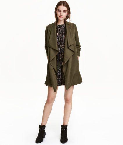 Draped Coat | Khaki green | Ladies | H&M US