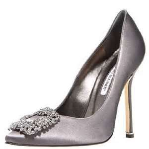 Manolo Blahnik - Crystal Accented Silver-Grey Satin Pumps ...