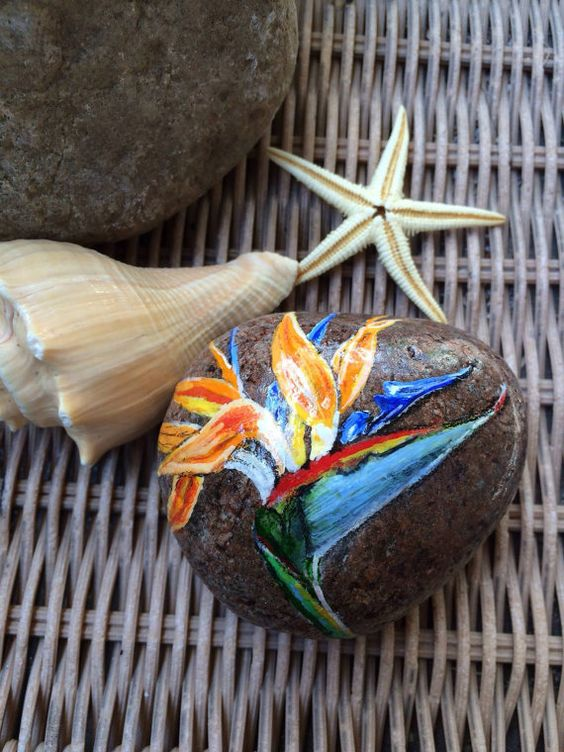 Bird of Paradise Handpainded on Stone