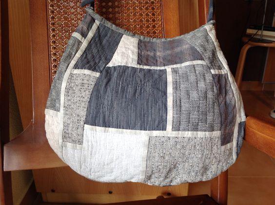 Bolso roba japonesa. Gris i negre