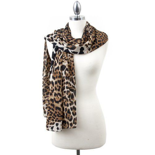 Valentine Chiffon Leopard Shawl Scarf - BROWN by Styleinch Scarf. $29.99. Light and flexible, this scarf is easily knotted or wrapped in casual loops around your neck. It is one beautiful brown leopard animal print chiffon scarf/shawl. This lovely scarf is very comfortable to wear, soft and light and adds perfection to your clothing. The material is a blend of chiffon, which you could preserve if you keep it twisted and tied. You can prefer wearing the scarf e...