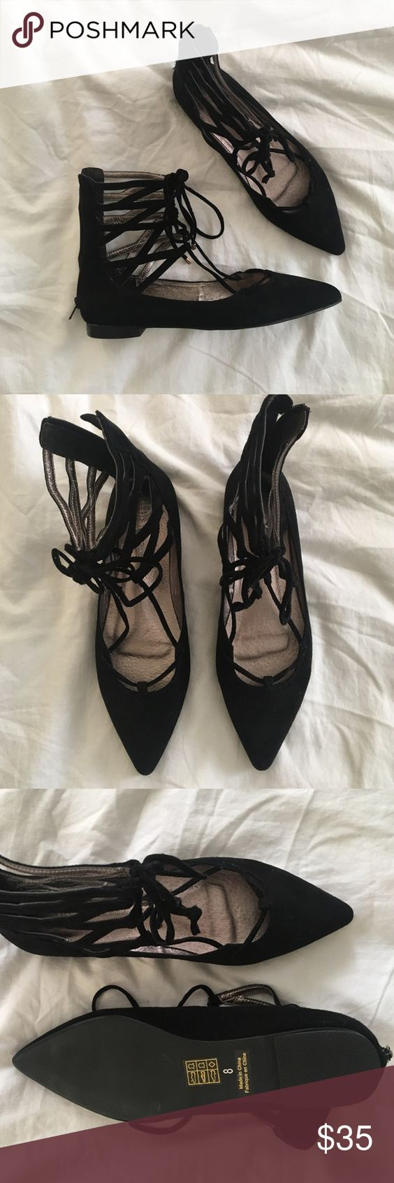 Free People x Jeffrey Campbell black lace up flats Pointed lace-up flats. Zip at the back. NWOT Free People Shoes Flats & Loafers