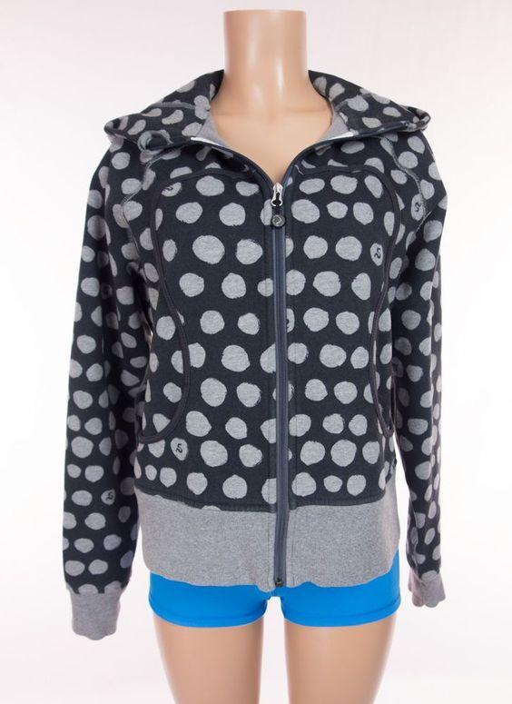 LULULEMON Scuba Hoodie 12 L Large Black Gray Polka Dot Fleece Jacket Yoga…