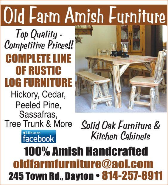 Amish Rustic Log Furniture - Dayton/Smicksburg, PA....complete ...