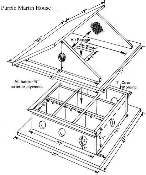 free printable birdhouse plans   Level, 8-Room Free Purple Martin Bird House Plans