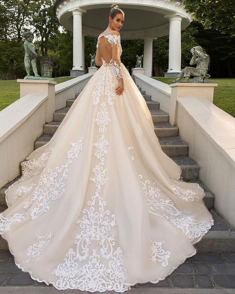 Modest Long Sleeve Wedding Dresses Sheer Neckline Open Back Lace Appliqued Bridal Dress 2018 Country Garden Ball Gowns Wedding Dresses Ball Gown Wedding Dresses Ball Gown Wedding Dress Wedding Dress Long