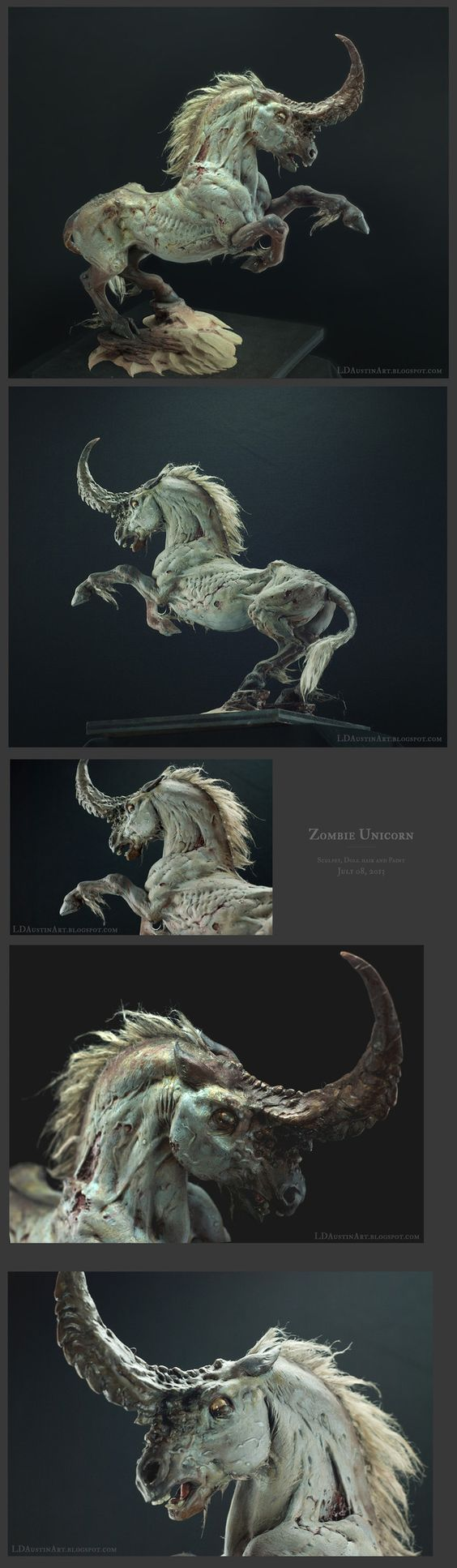 You've probably cried over Laurel Austin's Starcraft/Warcraft paintings before. Did you know she sculpts too? Here's a zombie unicorn.