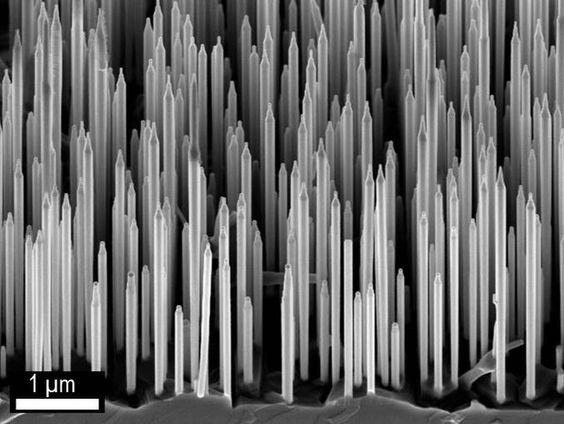 GALLIUMARSENID - Disse nanotrådene skal gi mye bedre LED-lys - tu.no/forskning Elektronmikroskopi-bilde av wurtzite GaAs / AlGaAs nanotråder. Foto: Dr. Dheeraj Dasa og prof. Helge Weman, NTNU