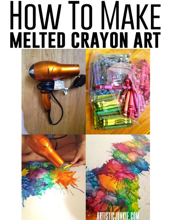How to make melted crayon art on canvas. So much messy fun!