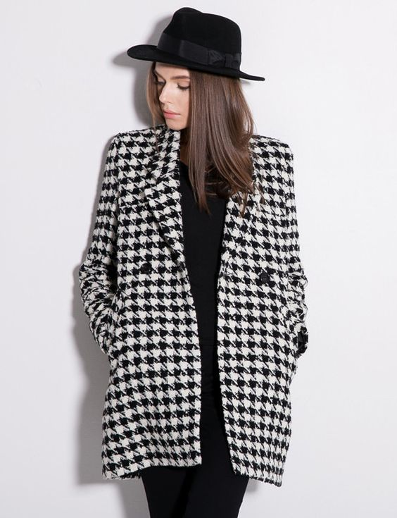 Black White Houndstooth Long Sleeve Double Breasted Slim Coat ...