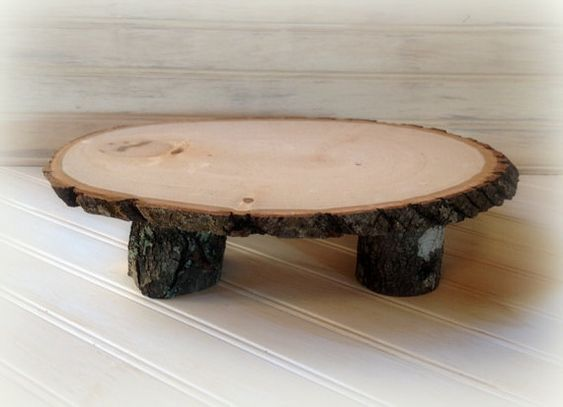 Cake stand platter or centerpiece wood tree slice for your