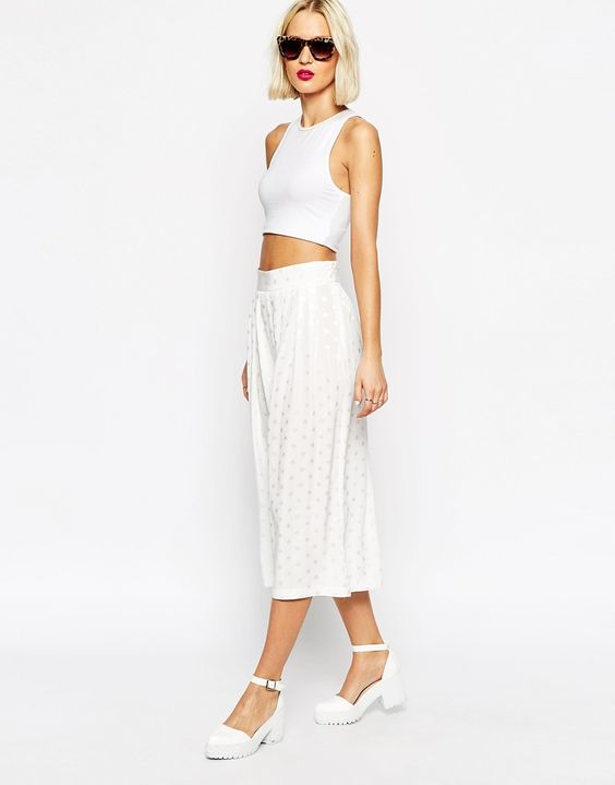 ASOS+Wide+Pleated+Culottes+in+Spot+Jacquard+co-ord