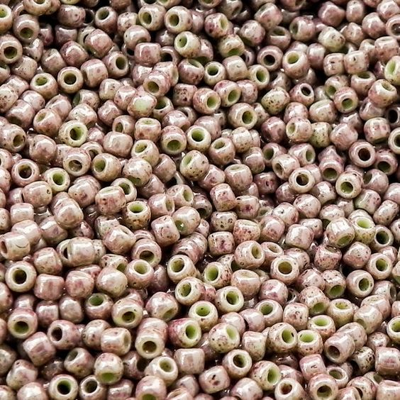8/0 Marbled Opaque Avocado Pink Toho Seed Beads - 10 grams or 16 grams - 1752 - Size 8/0 Marbled Avocado Pink Seed Beads - Color 8-1209