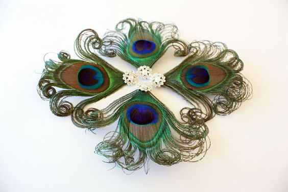 Bridesmaids Set of 4 - Prim - Peacock feather hair clips / Bridesmaid hair accessories. $72.00, via Etsy.