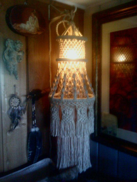 Waterfall macrame hanging lamp swag 48 white butcher for Waterfall lamp shade