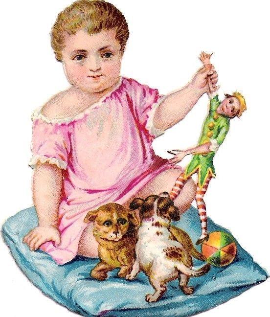 Oblaten Glanzbild scrap diecut chromo Kind child baby Hund dog punch clon puppy: