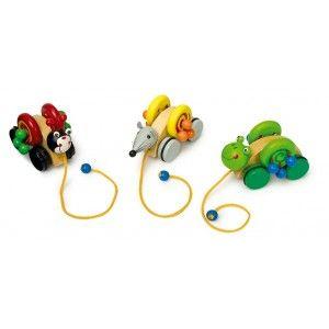 Set van 3. De wielen rollen en de houten ballen tikken tegen het wiel. Erg mooie set. #speelgoed