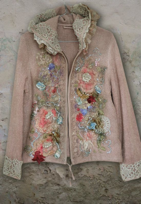Wintergardenartful ornate embroidered jacket by FleursBoheme: