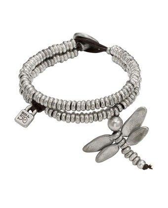 Dragon Fly Bracelet Uno De 50 Pam Bracelet PUL0612 Pam Womens silver plated bracelet with double