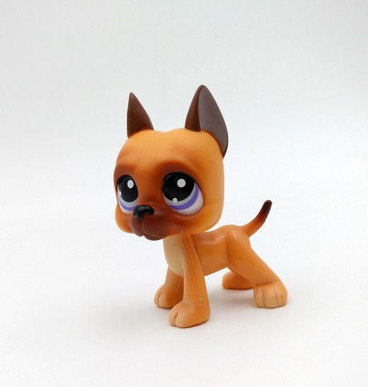Details About Littlest Pet Shop Great Dane Dog Puppy Brown