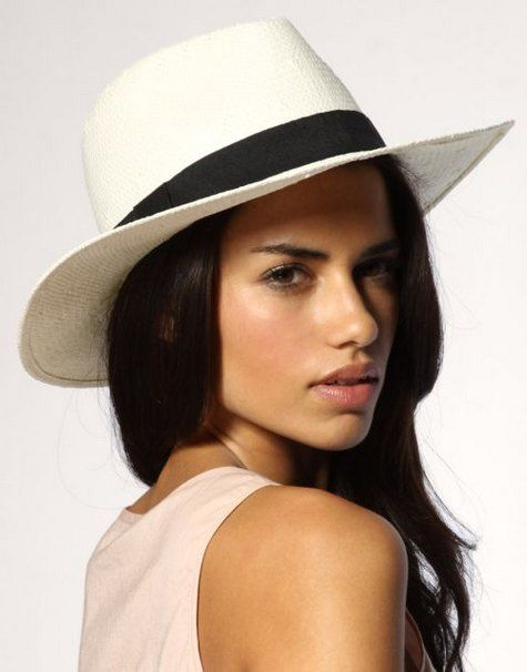Fashion style white wide brimmed classic straw fedora hat ...