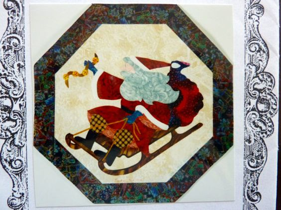 Santa Stops Here - Michele O'Neil Kincaid Designs - Vintage Quilt Applique Pattern - Christmas Decor Wall Hanging - UNCUT