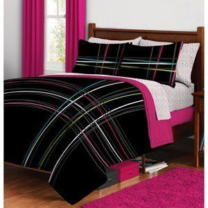 Black Pink Green Purple Striped Teen Girls Full Size