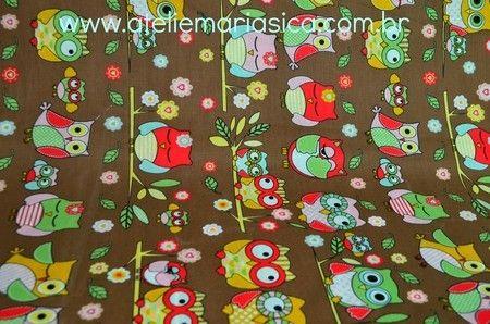 Tecido Nacional 100% algodão Corujas e Chocolate -valor de meio metro - Ateliê Maria Sica - Loja