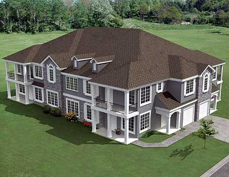 Plan 18511wb 8 unit house plan with corner decks home for Multi family home plans