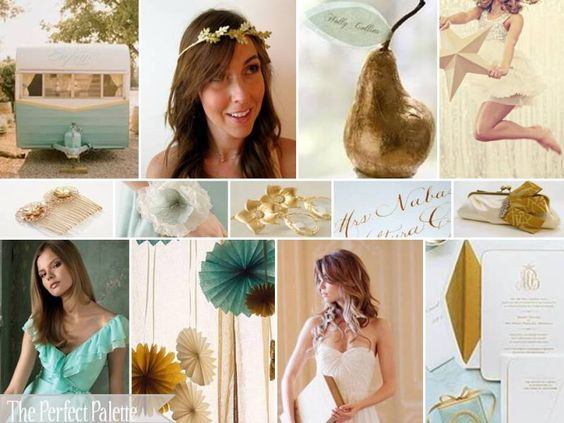wedding color combination: teal, dusty aqua, antique gold and white